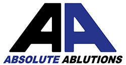 Absolute Ablutions South African  business logo in black and blue
