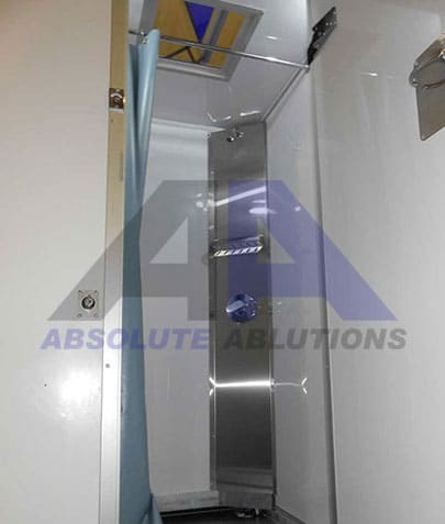 This mobile shower is for the decontamination of laborers who work with hazardous materials.
