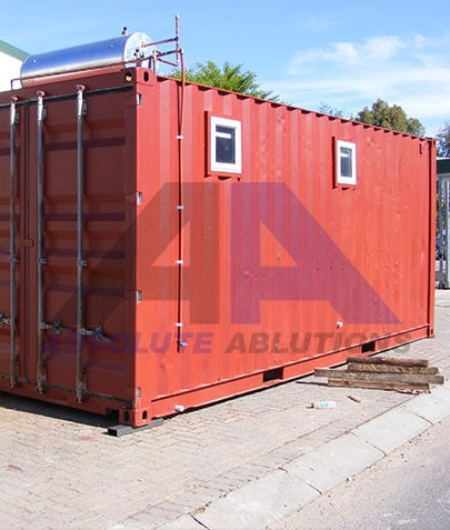 Shipping container modified for ablution use, typically a standard 6 meter shipping container can include 6 – 8 cubicles with toilets, heated showers, basins, urinals and lights
